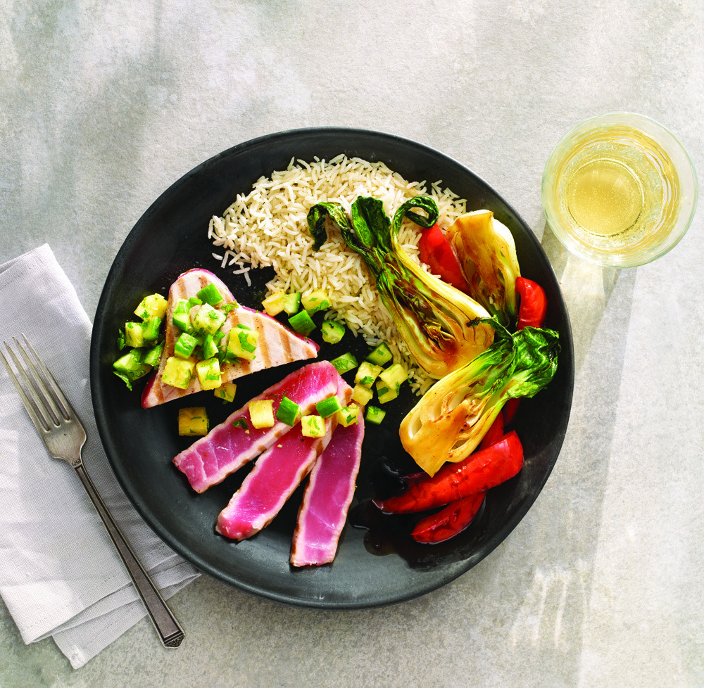 Tuna Steak With Pineapple & Cucumber Salsa & Grilled Asian Vegetables