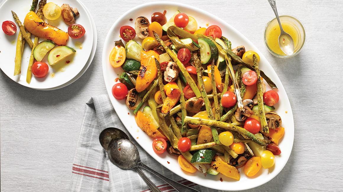 Grilled Vegetable and Garlic Salad